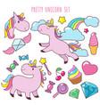 retro cartoon pink unicorns girl fashion vector image