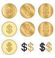 golden dollars - set of coins vector image