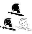 set of ancient helmets with swords vector image