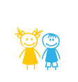 Sketch Cute Funny Girl and Boy vector image
