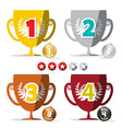 Flat Design Winning Cups and Medals Set with Star vector image