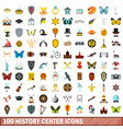 100 history center icons set flat style vector image vector image