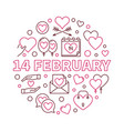14 february outline valentines day vector image vector image
