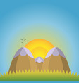 a natural landscape two mountains with snow caps vector image vector image