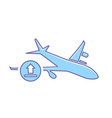 airplane flight plane transport travel upload icon vector image vector image