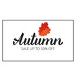 autumn banner with brush lettering autumn and oak vector image vector image