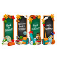 back to school education banners with chalkboards vector image vector image