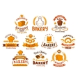 Bakery and pastry shop icons or signboards vector image