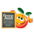 banner for fresh juice with funny orange vector image vector image