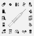 black and white syringe icon vector image vector image