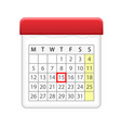 calendar icon with red marked day vector image vector image