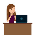 cartoon woman laptop desk e-commerce isolated vector image