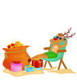 cartoon xmas deer resting in chair with bag full vector image vector image