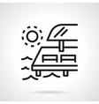 Chaise-lounges on pier black line icon vector image