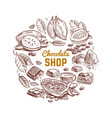 chocolate shop emblem design with sketched vector image vector image
