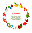 christmas celebration banner card circle 3d vector image vector image