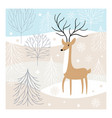 christmas deer greeting card vector image vector image