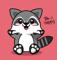 color background with cute kawaii animal raccoon vector image vector image