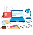 creative office home workplace laptop lamp vector image