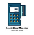 credit card machine lineal color icon vector image
