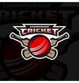 Cricket sports logo emblem vector image vector image