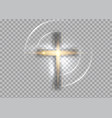 cross light shiny cross with golden frame sign vector image