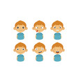 cute boy facial emotions set kids face with vector image vector image