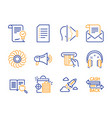 document mail newsletter and fan engine icons set vector image vector image