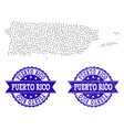 dotted map of puerto rico and textured seal vector image