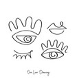 fashion one line drawing eyes and lips vector image