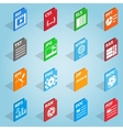 File format set icons isometric 3d style vector image vector image