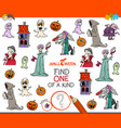 find one of a kind game with halloween characters vector image vector image