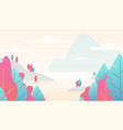 flat minimal landscape mountain nature scene with vector image