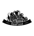 graphic seafood together vector image vector image