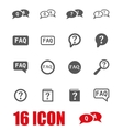 grey faq icon set vector image