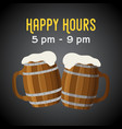 happy hours - beer coupon ad poster with vector image vector image
