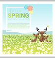 Hello spring landscape background with deer family