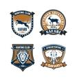 Hunting club and safari trip heraldic badge set vector image