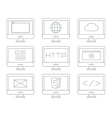 Internet icon set simple flat grey line contour vector image vector image