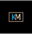 k m letter logo monogram design vector image vector image