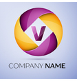 Letter V logo symbol in the colorful circle vector image vector image