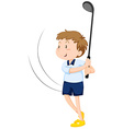 Man playing golf alone vector image vector image