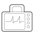 Monitor with cardiogram icon outline style vector image