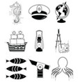 Nautical elements 3 sticker style vector image vector image