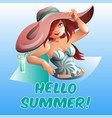pretty woman in pool hello summer banner vector image vector image