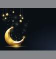 ramadan kareem greeting card - crescent and vector image vector image