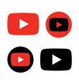 red and black play button icon vector image vector image