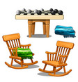rocking chairs green and blue plaid and checkers vector image