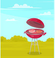 round barbecue on stand with red bottom and lid vector image
