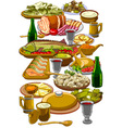 Royal table made to different dishes vector image